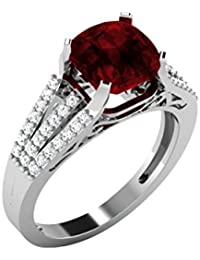 His & Her .925 Sterling Silver, Solitaire And Garnet Ring For Women