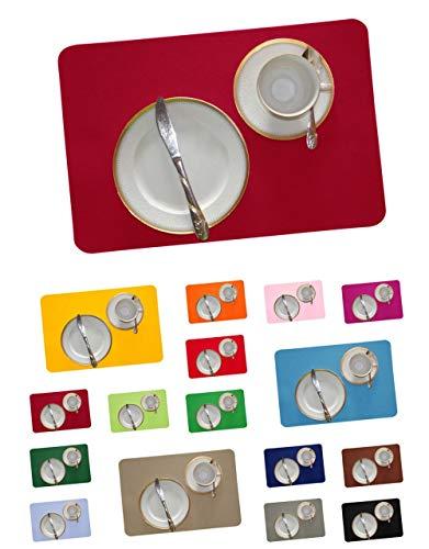 Bordeaux-kaffee-tisch-set (DIE NÄHZWERGE Filz-Tischset rechteckig - ca. 45x30cm, in 17 Farben, als Einzelstück und im Set | 3mm Polyester-Textilfilz, waschbar. Handarbeit. (dunkelrot, 2))