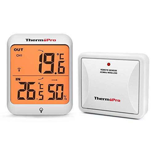 ThermoPro TP63 Igrometro Termometro Digitale, Wireless Termometro Esterno per Interno, Sensore Resistente Alle Intemperie, Retroilluminazione LCD di Grandi Dimensioni, Monitor di Umidità e Temperatura
