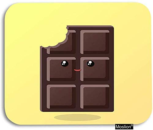 HJJL Tappetino per mouse 9.84x 11.8 inches Chocolate Mouse Pad Cute Smile Bitten Chocolate Kawaii Face Eyelash Gaming Mouse Pad Rubber Mousepad