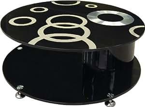 Table basse ronde design en verre noir à motifs