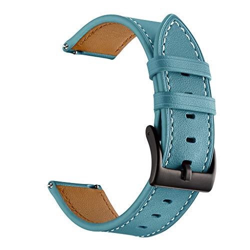 Jamicy® Lederarmband 20mm Armband kompatibel für Garmin vivoactive 3 Watchband, Armband für Garmin Vivoactive 3 / Garmin Vivomove/Samsung Gear Sport/Samsung Gear S2 (Himmelblau)
