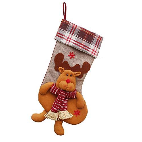 Hirolan Süßigkeitstasche Geschenke Weihnachtsbaum Ornament Strumpf Weihnachtsmann Schneemann Sock Decor Socke Candy Bag (C, 1 X Strümpfe (Single)) (Ornaments Tree Halloween Mini)