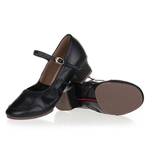 Wxmddn Scarpe da ballo femminile scarpe nere scarpe da quattro stagioni scarpe da danza adulta suola morbida Nero