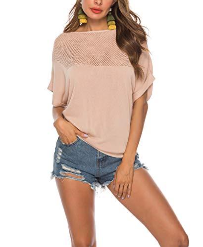 SIRUITON T-Shirt Damen Sexy, Kurzarm Shirt Damen Casual Oberteile Batwing Knit Strickshirt Strickpullover, Aprikose, M(DE38-40) -