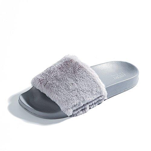 FITORY Damen Hausschuhe Plüsch Süße Weiche Indoor/Outdoor Pantoffeln mit Pelz Rutschfeste Gr. 36-40