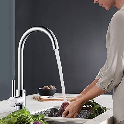 Amzdeal grifo de cocina monomando de cocina giratorio de 360 ° con agua caliente y fría ajustables,grifo de fregadero acero inoxidable grifo de lavabo cromado de 59 latón