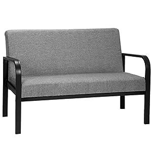 WOLTU Lounge Couch SKS08gr Lounge Sofa Polstercouch 2-Sitzer Couch Clubsessel Fernsehsessel Armsessel Sitzbank, gut gepolstert, aus Stahl und Stoffbezug, Grau