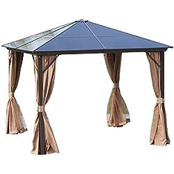 Outsunny Tonnelle pavillon de Jardin Rigide Panneaux Toit Polycarbonate Structure alu. dim. 2,98L x 2,98l x 2,65H m 4 parois latérales Anti-UV 4 moustiquaires Beige Chocolat