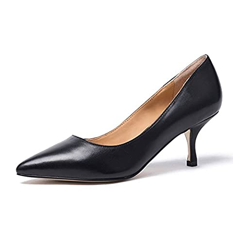Womens Kitten Mid heel Pointed Toe Pump Elegant Ladies Basic Office Dress Shoe With Patent Leather Slip On Stiletto Low Heel Big Size (43, black leather without
