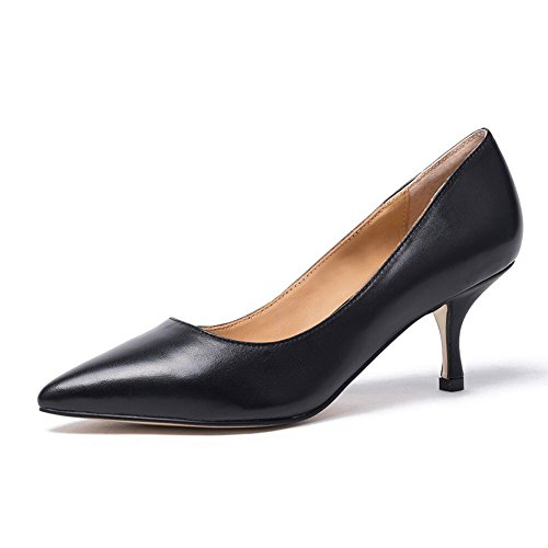 Damen Spitz Pumps Lackleder Kitten Heel Absatz Pointed Toe Klassischer Damenschuh Beige (40, Schwarzes Leder) (Mid-heel Leder-einlegesohlen)