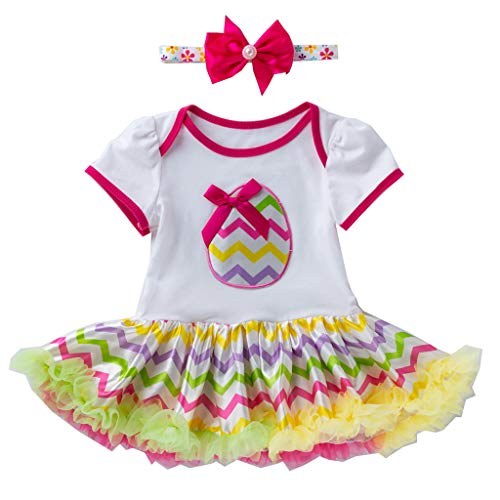 JUTOO Kleinkind neugeborenes Baby-Prinzessin Easter Eggs Tutu Dress Outfits Set (Weiß 1,66)