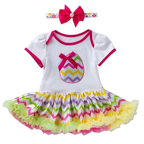 Allegorly Newborn Outfits Set 2 Stück Kinder Mädchen Kleidung Set Kleinkind Body Strampler Tütü Rock Geburtstag Outfits Glitzer Bowknot Stirnband 0-18 Monate