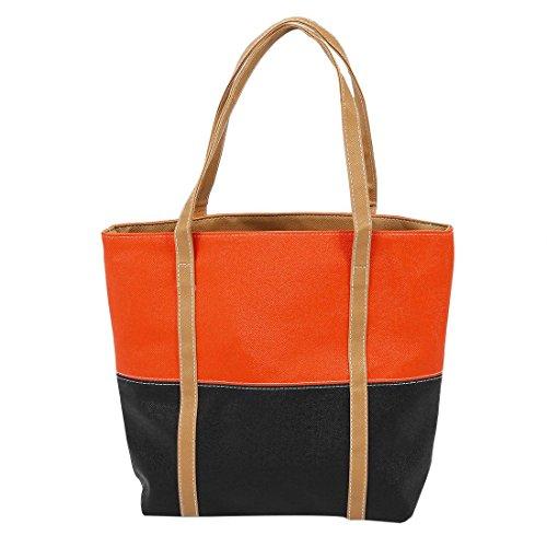 TOOGOO(R) Sacchetti di cuoio di cuoio dell'unita' di elaborazione del sacchetto di spalla delle donne del sacchetto delle donne dell'annata sacchetto-Arancione + nero Arancione&nero