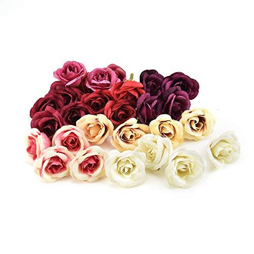 Nwsx fiori di seta fiore artificiale teste di fiore di seta decorazione della festa nuziale festa di casa fai da te fiori finti 30 pz/lotto 4 cm (multicolor)