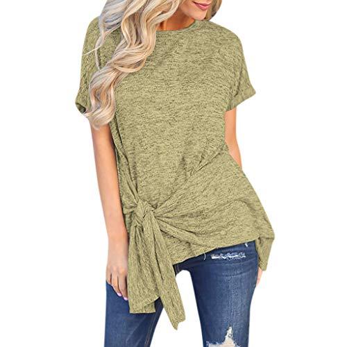 T Shirt ❤ LEEDY Damen Krawatte Asymmetrisch Kurzarm Shirts Hemd Bluse T-Shirt Oberteile Tops Sweatshirt