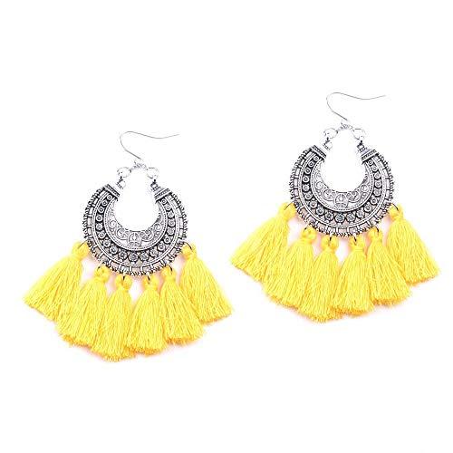 Weiße Seide Kronleuchter (Cyuang Ohrringe Ohrstecker Ohrhänger Bohemian Vintage Silber Seide Gelb Quaste Kronleuchter Ohrringe Für Frauen Schmuck)