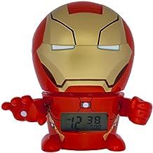 Despertador infantil BulbBotz con luz nocturna con figurita de Iron Man de Marvel con sonido característico   rojo/dorado  plástico   14 cm de altura   Pantalla LCD   chico chica   oficial