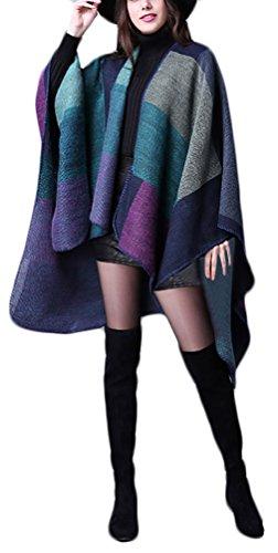 Donna Poncho Mantelle Elegante Vintage A Quadri Pattern Moda Casual Reversibile Knitted Autunno Inverno Calda Mantellina Scialle Capes Cardigan Cappotto Top Taglie Forti Porpora