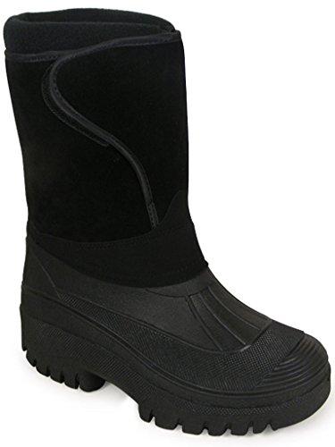 New nero unisex uomo donna equitazione yard impermeabile stabile Walking pioggia neve sci stivali Wellington Wellys caldo fattoria Mucker stivali tutte le taglie UK 4–11 Black