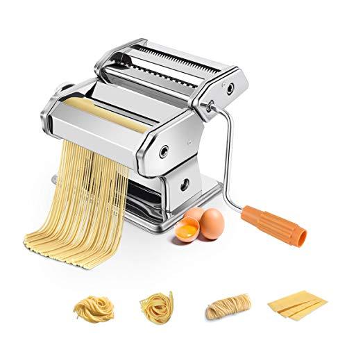 COSTWAY Nudelmaschine manuell, Pastamaschine aus Edelstahl, Pastamaker 6 Nudelstärke, Küchengerät Silber, Küche Maschine inkl. Tischklemme, Spaghetti Nudeln Pasta Maker 20,5 x 20,5 x14 cm