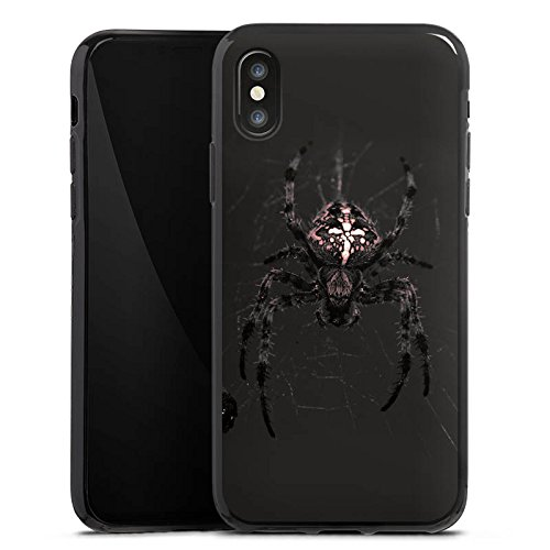 Apple iPhone X Silikon Hülle Case Schutzhülle Araneus Spinne Spider Silikon Case schwarz