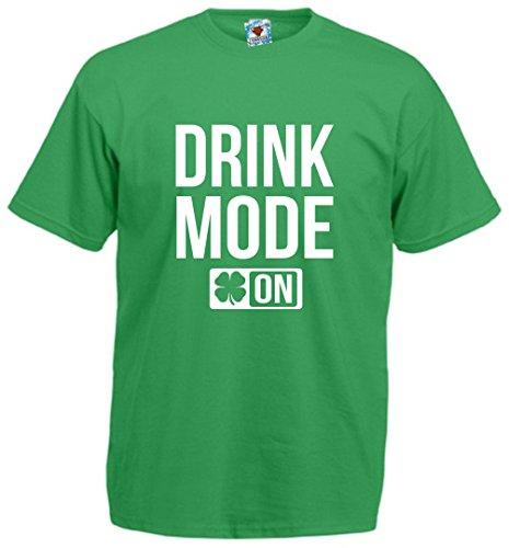 Reality Glitch Herren Drink Mode On Irish Themed T-shirt (Irisches Grün, Mittel) (T-shirt Drunk Irish)