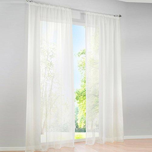Hongya confezione da uni tende in voile sciarpa tenda trasparente con fascia increspata, poliestere, crema, h/b: 225/145 cm