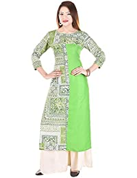 Fashion Discovery 18 Women's Straight Cotton Kurti With Solid Rayon Palazzo(Stylish Designer Party Wear Kurti -