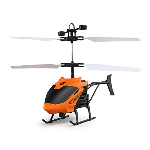Enjoydeal Mini RC Drone USB Wiederaufladbare Hubschrauber Induktion Flugzeug Fernbedienung Infrarot Spielzeug mit Blinklicht für Kinder, Erwachsene Orange