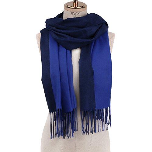 SOJOS Beidseitig Farbig Reversible Kaschmir Wolle Damen Schal Schals Poncho SC302 Königsblau Blau (Schal Reversible Muster)