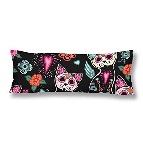 CiCiDi Seitenschläferkissen Kissen-Bezug 40x145 cm Nahtloser Muster Tag der Toten Halloween Katzen Blumen Atmungsaktives Kissenhüllen mit Reißverschluss Baumwollen und Polyester (Tote Katzen Halloween)