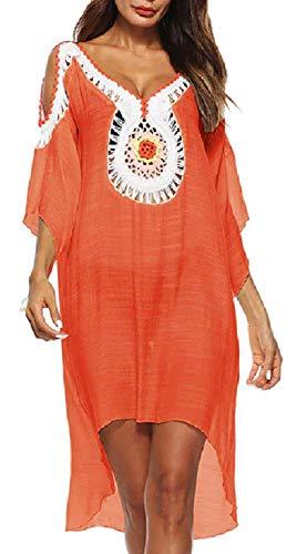 Lovelegis Vertuschungen Frau Meer - Pareo - Mädchen - Badebekleidung - Strand - Schwimmbad - Tunika - Kleid - Kleid - indisch - dekoriert - orange Farbe