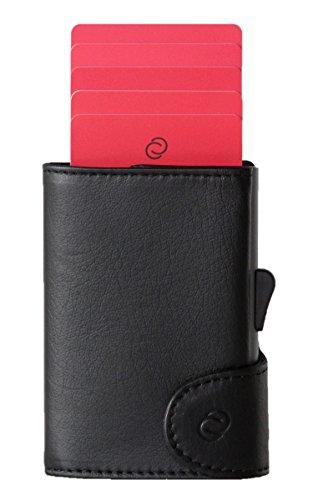 Cartera Inteligente con Tarjetero de Aluminio (antirrobo RFID) - Cartera y Tarjetero Compacto - Compartimentos para Guardar Tarjetas, Billetes y Monedas - C-Secure (Negro)