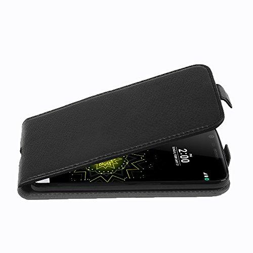 Cadorabo LG G5 Custodia di Finta-Pelle Flip Struttura in Nero Profondo – Protezione in Stile Flip di Similpelle Fine – Portafoglio Cover Case Wallet Book Etui Protezione