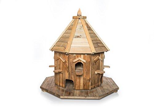 Massives Taubenhaus mit Pfosten Ø 100cm - dekoratives Futterhaus für Tauben, Taubenschlag - 250 cm hoch (Taubenhaus)