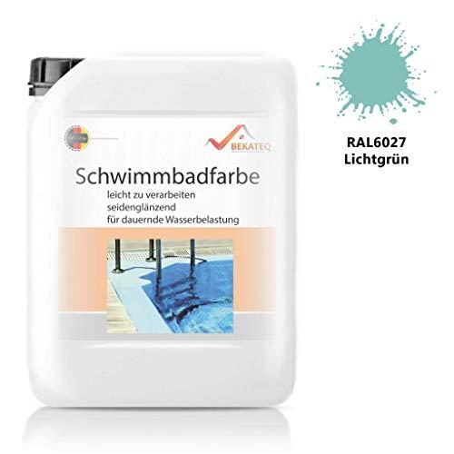 Bekateq Poolfarbe LS-400, RAL6027 Lichtgrün 2,5l seidenmatt, Schwimmbadfarbe Chlorkautschukfarbe für mineralische Untergründe wie Beton, Mauerwerk, Putz