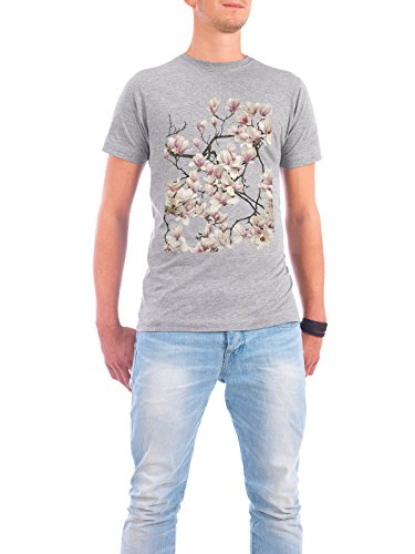 "Design T-Shirt Männer Continental Cotton ""Magnolie"" - stylisches Shirt Floral von Tan Kadam Grau"