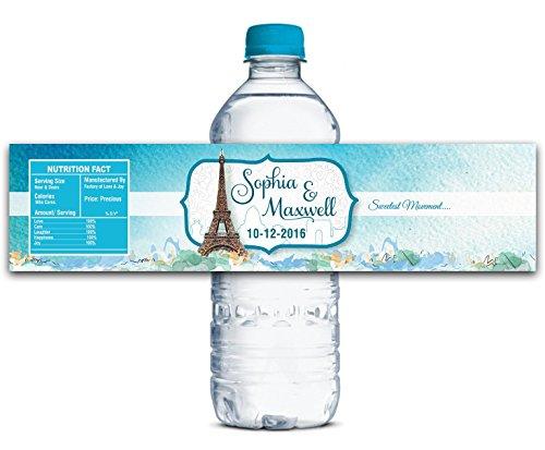 Personalisierte Hochzeit Wasserflasche Etiketten Wasserdicht Benutzerdefinierte Paris Thema Aufkleber 8