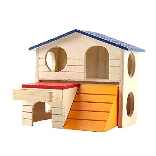 AOOPOO: Caseta de hámster para mascotas de 2 capas de madera para animales pequeños como hámster enano y ratón, juguetes para masticar