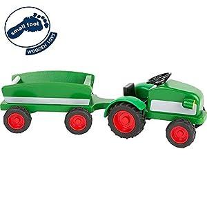 small foot company-El Tractor Woodfriends, Fabricado en Madera 100% certificada FSC con Remolque y neumáticos de Goma Juguetes, (Small Foot by Legler 11006)