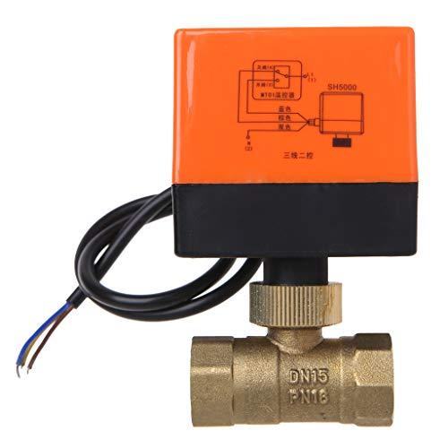 JUNESUN Válvula de Bola de latón motorizada eléctrica DN15 AC 220V 2...