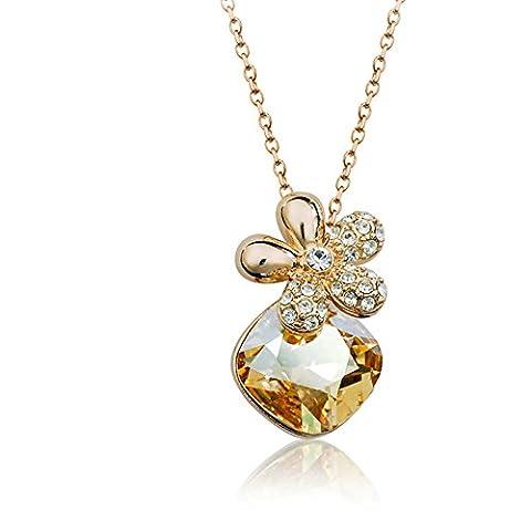 Dames coréenne fashion clavicule courte chaîne/ Crystal Flower necklace-A
