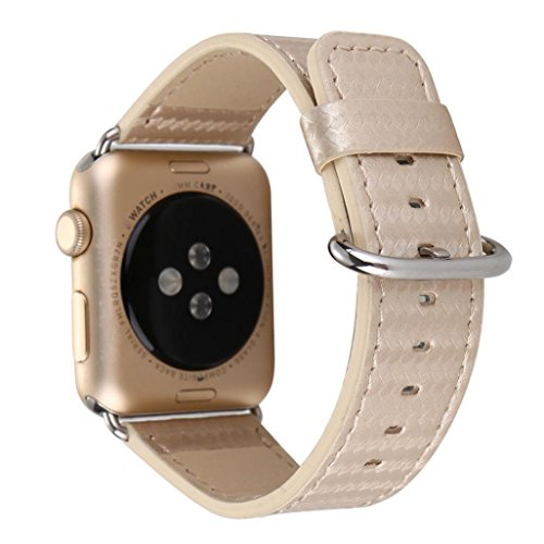 Dasongff Apple Watch Armband, Unisex Kohlefaser Lederband Ersatz Uhrenarmband Armbanduhren Watch Band für Apple Watch 38MM/ 42mm (Golden-38)