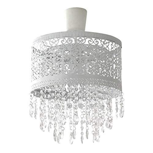 Grafelstein Hängelampenschirm Marrakech weiß Lampenschirm aus Metall mit Kristallen