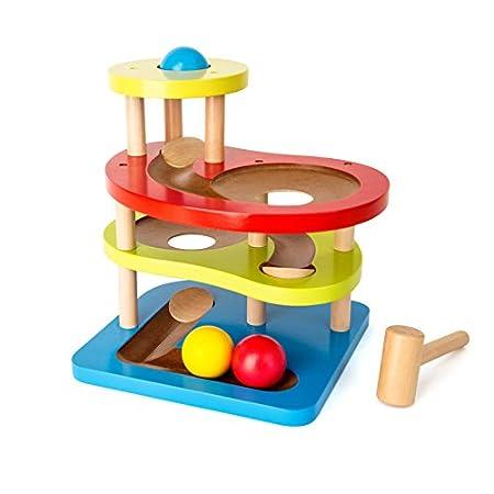 Small Foot 10629 Klopfkugelbahn Farbenreich aus Holz mit Vier Etagen und Rampen, inkl. 3 Kugeln und Hammer, ab 18 Monate Spielzeug