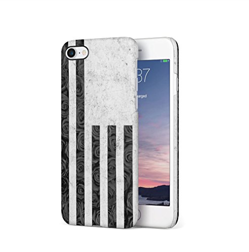 USA Flag Grey Marble & Black Rose Stripes Kompatibel mit iPhone 7 / iPhone 8 SnapOn Hard Plastic Phone Protective Fall Handyhülle Case Cover