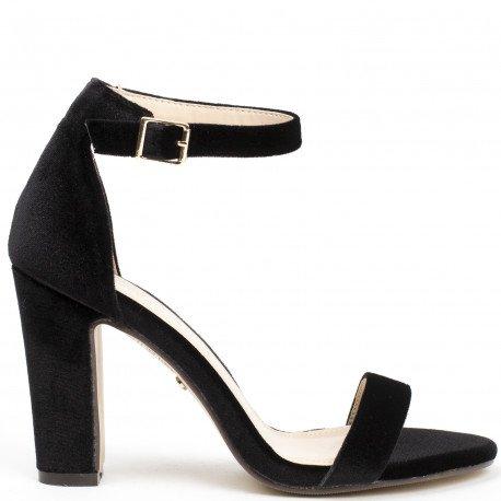 Ideal Shoes - Sandales à talon carré effet velours Henola Noir