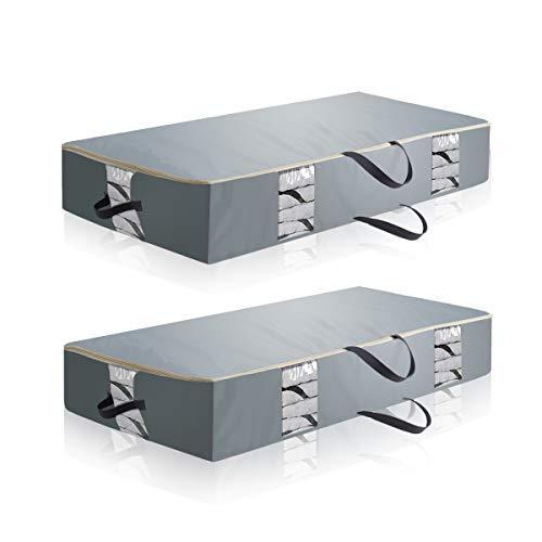 onWay Oxford Kleidung Vorratsdosen Jumbo Unterbettkommode Reißverschluss Taschen Raum Organizer mit klaren Sichtfenster & Reißverschluss für Kleidung, Decke, Matratzenschonern-(1Pack, grau) 2er-Set -