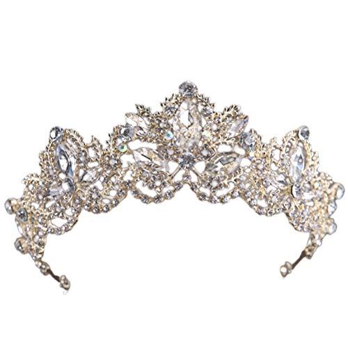Barock Exquisite Kristall Strass Tiara Kronen Hochzeit Braut Kronen Schmuck Brautschmuck Haarschmuck Brautschmuck Haarschmuck (Schlank Golden White Drill)
